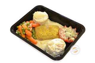 Afbeelding van Cordon Bleu met erwtjes, worteltjes en aardappelgratin