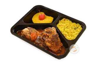 Afbeelding van Kippenboutje met zoet-zure saus en rijst